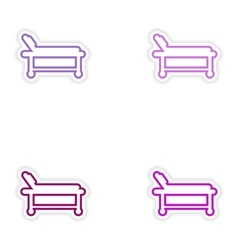 Set of paper stickers on white background hospital vector