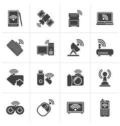 Black wireless and communications icons vector