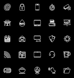 Internet cafe line icons on black background vector