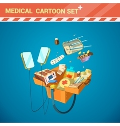 Hospital equipment cartoon set vector