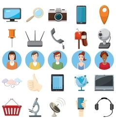 Office equipment icons set cartoon style vector