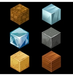 3d game block isometric cubes set elements vector