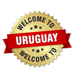 Uruguay 3d gold badge with red ribbon vector