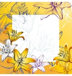 Abstract greeting card floral blooming lilies vector
