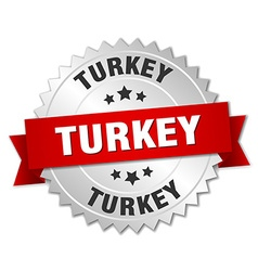 Turkey round silver badge with red ribbon vector