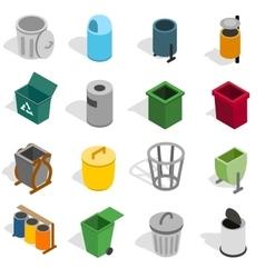 Trash bin icons set isometric 3d style vector