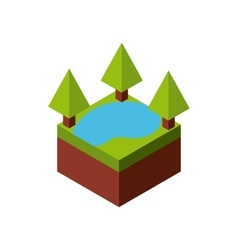 Tree and lake icon isometric design vector