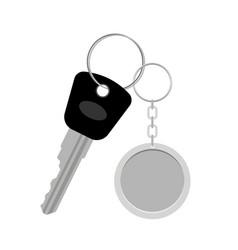 Blank metal keyring with key vector