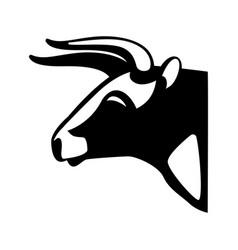 bull head black silhouette realistic icon vector image vector image