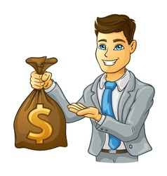 Business man holding money bag vector image