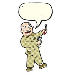 Cartoon mechanic with speech bubble vector