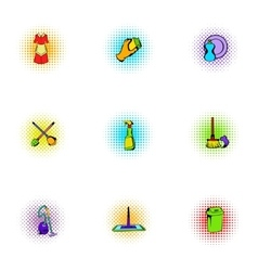 Cleansing icons set pop-art style vector