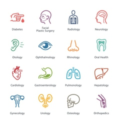 Colored Medical Specialties Icons - Set 1 vector image vector image