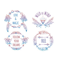 colorful bohemian banners with lettering vector image