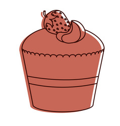 delicious cupcake bakery icon vector image