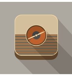 Flat long shadow radio icon vector image vector image