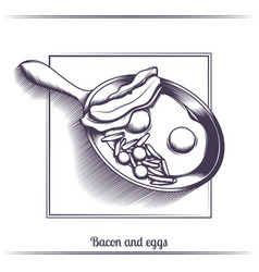 Fried eggs with bacon in a frying pan black vector