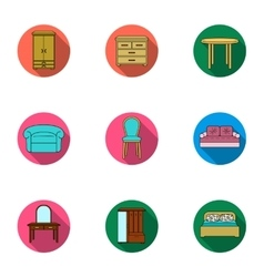 Furniture and home interior set icons in flat vector
