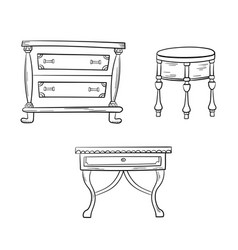 furniture set - antique bureau tables isolated on vector image vector image