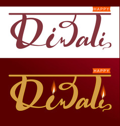 Happy diwali indian festival of lights set vector