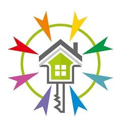 Home key house lock security buiding icon vector