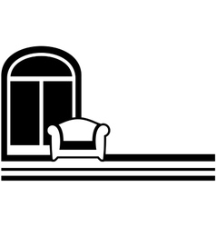 interior symbol - window and armchair vector image