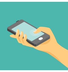 isometric of hand and a smartphone vector image