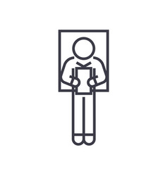 laying man reading book linear icon sign symbol vector image