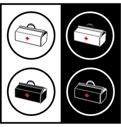 Medical suitcase icons vector