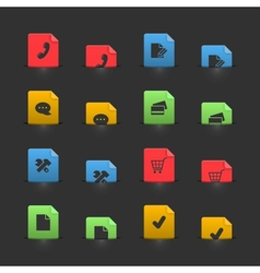 Online shopping iconset on moving stubs vector