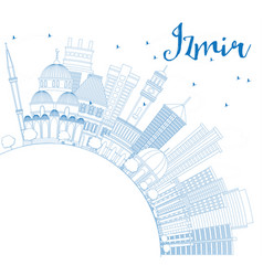 Outline izmir skyline with blue buildings and vector