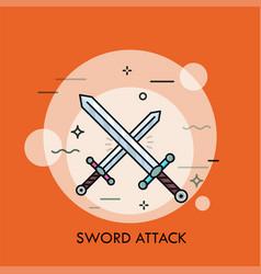 Pair of crossed or clashing swords vector