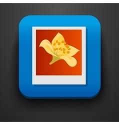 Polaroid photo symbol icon on blue vector