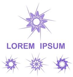 Purple round logo design set vector