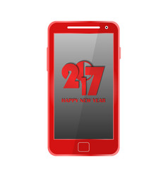 Red modern mobile phone isolated new year 2017 vector