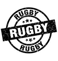 Rugby round grunge black stamp vector