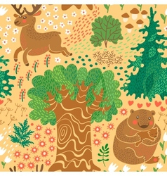 Seamless pattern with deer bears in the woods vector image