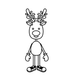 silhouette reindeer standing with gloves and shoes vector image