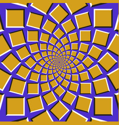Squares are moving circularly toward the center vector
