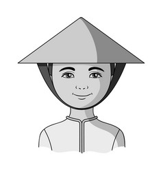 vietnamesehuman race single icon in monochrome vector image vector image