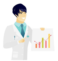 Young asian doctor showing financial chart vector