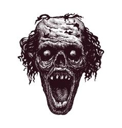 zombie head hand drawn eps8 vector image