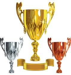 set Winning success gold silver bronze cu vector image