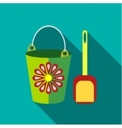 Children s toy pail with shovel in blue-green vector