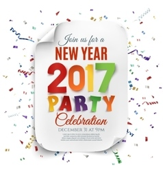 New year party poster template with confetti vector