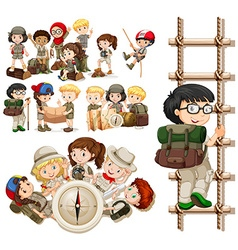 Children doing different activities for hiking vector