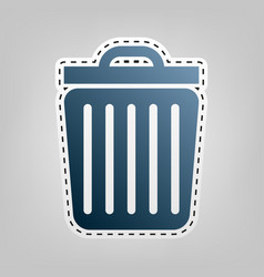 trash sign   blue icon with vector image