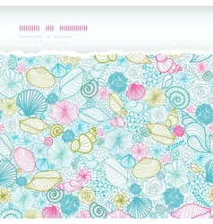 Seashells line art horizontal torn seamless vector image