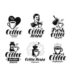 coffee espresso label set cafe coffeehouse vector image