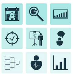 Set of 9 administration icons includes company vector